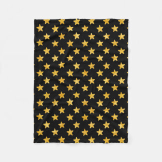 Gold and Black Stars Pattern Fleece Blanket