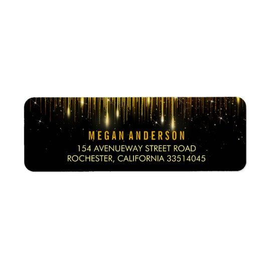 Gold and Black String Lights Glitter Wedding Return Address Label