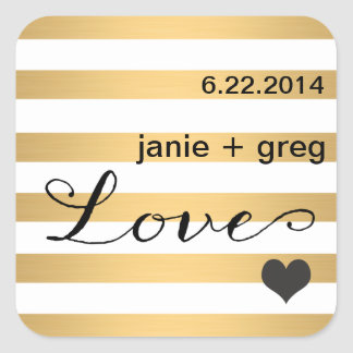 Gold and Black Striped Heart Love Sticker