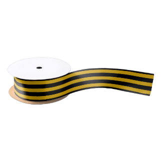 Gold and Black Stripes Ribbon Satin Ribbon