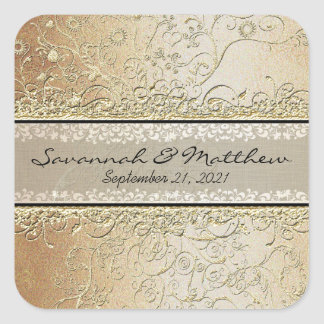 Gold and Black Swirl Square Wedding Seal Square Sticker