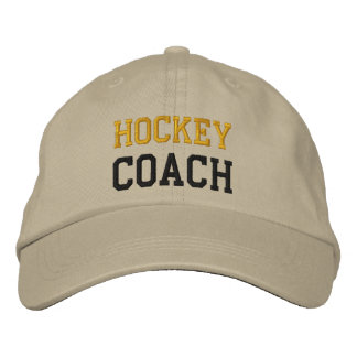 Gold and Black Text Hockey Coach Hat