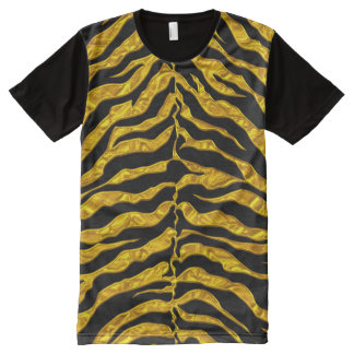 Gold And Black Tiger All-Over Print T-Shirt