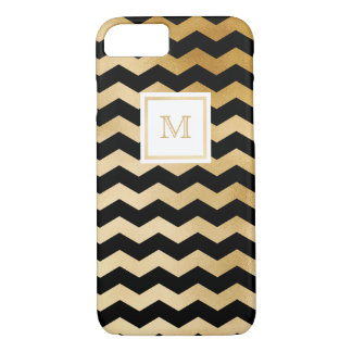 Gold and Black Tiny Chevron Phone case