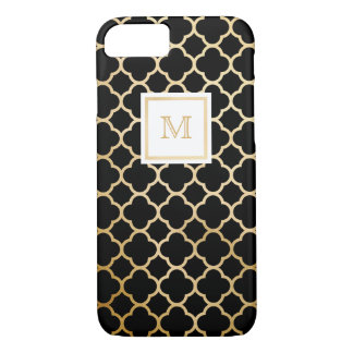Gold and Black Tiny quatrefoil Phone case