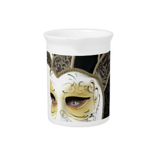 Gold and Black Venetian Carnivale Mask in Profile Beverage Pitchers