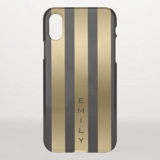 Gold And Black Vertical Stripes iPhone X Case