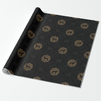 GOLD AND BLACK WEIMARANER CHRISTMAS WRAPPING PAPER