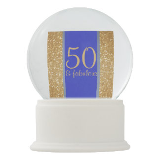 """Gold and Blue """"50 & Fabulous"""" 50th Birthday Snow Globes"""