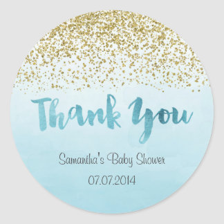 Gold and Blue Baby Shower Sticker