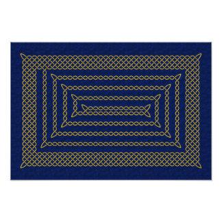 Gold And Blue Celtic Rectangular Spiral Photo