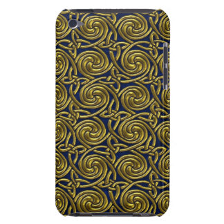 Gold And Blue Celtic Spiral Knots Pattern iPod Touch Case-Mate Case
