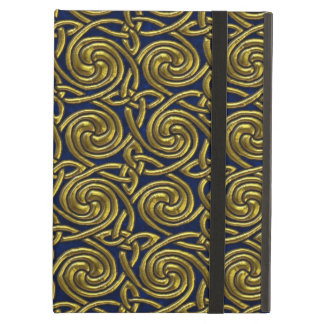 Gold And Blue Celtic Spiral Knots Pattern iPad Air Case