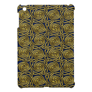 Gold And Blue Celtic Spiral Knots Pattern iPad Mini Cases