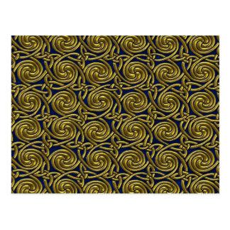 Gold And Blue Celtic Spiral Knots Pattern Postcards