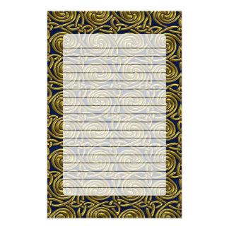 Gold And Blue Celtic Spiral Knots Pattern Custom Stationery