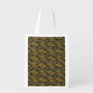 Gold And Blue Celtic Spiral Knots Pattern Market Totes