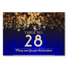 Gold and Blue Chic String lights Wedding Card