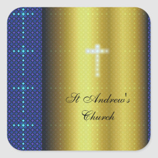 Gold and Blue Christian Crosses Square Sticker