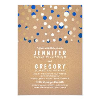 Gold and Blue Confetti Elegant Wedding Invitation
