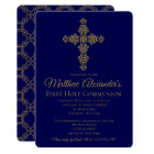 Gold and Blue Cross First Communion Invitation