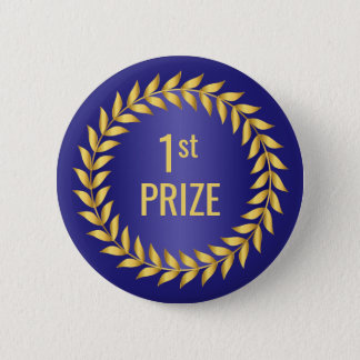 Gold and Blue First Prize 6 Cm Round Badge