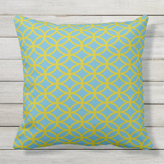 Gold and Blue Geometric Decorative Outdoor Cushion