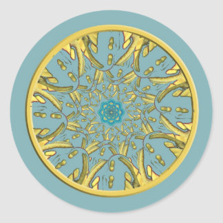 Gold and Blue Lotus Mandala Stickers