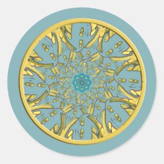 Gold and Blue Lotus Mandala Stickers