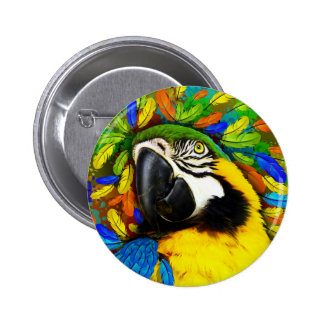 Gold and Blue Macaw Parrot Fantasy buttons