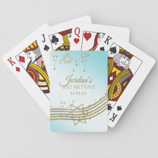 Gold and Blue Music Bat Mitzvah Playing Cards