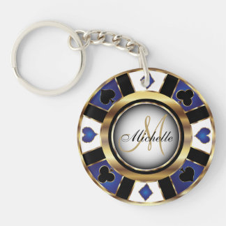 Gold and Blue Poker Chip Design - Monogram Double-Sided Round Acrylic Key Ring