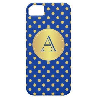 Gold And Blue Polka Dots, Monogram iPhone Case