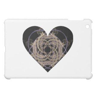 Gold and Blue Spiral Fractal Art Heart Design iPad Mini Cover