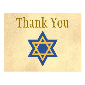 Gold and Blue Star of David Thank You Postcard
