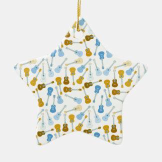 gold and blue ukuleles ceramic ornament