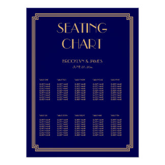 Gold And Blue Wedding Seating Chart Poster 18x24