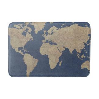 Gold and Blue World Map Bath Mats