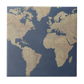 Gold and Blue World Map Ceramic Tile