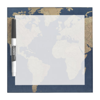 Gold and Blue World Map Dry Erase Board