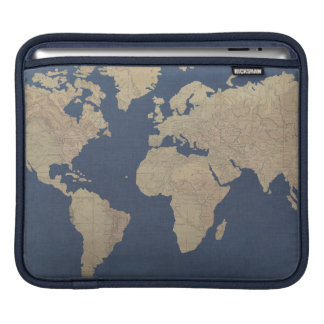 Gold and Blue World Map iPad Sleeve