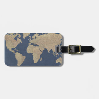 Gold and Blue World Map Luggage Tag