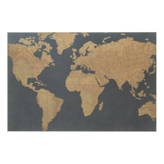 Gold and Blue World Map Wood Wall Art