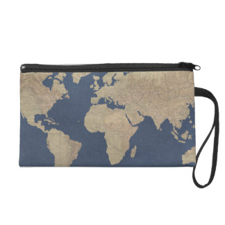 Gold and Blue World Map Wristlet