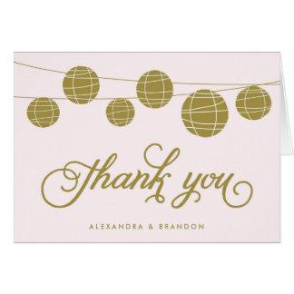 Gold and Blush Hanging Lanterns Thank You Card