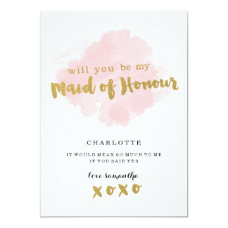 Gold and Blush Will You Be My Maid of Honor? 13 Cm X 18 Cm Invitation Card