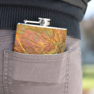 Gold and brass plated texture with a crinkle patte hip flask