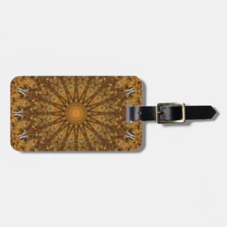 Gold and Brown Fall Foliage Mandala Kaleidoscope Luggage Tag
