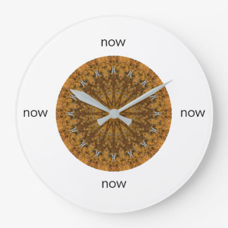 """Gold and Brown Mandala """"Now"""" Large Clock"""