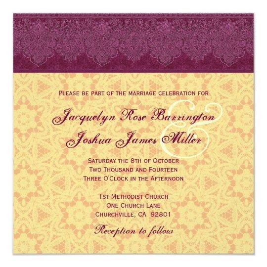 Gold and Burgundy Damask Monogram Wedding V30 Card